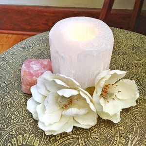 """Henna Prayer"" Round Selenite Candle Holder Mother's Day Special"
