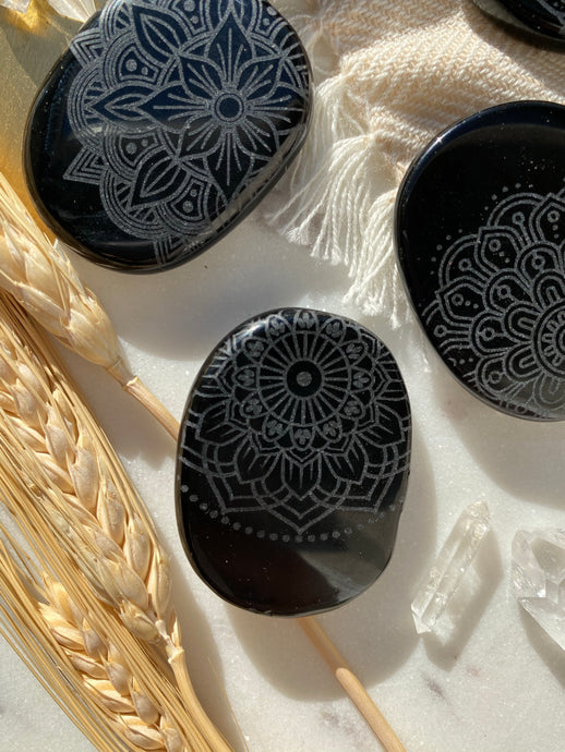 Obsidian Pocket Stone Etched with Flower of Life or Various Mandalas