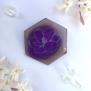 """Magnolia Matriarch"" Magnolia Flower Agate Slices - Flower Essence Collection"