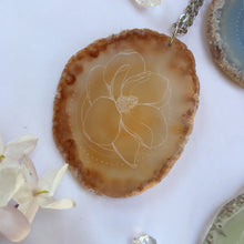 """Magnolia Matriarch"" Magnolia Flower Agate Slice Pendant Necklace - Flower Essence Collection"
