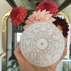 """Zodiac"" Round Selenite Charging Plate Crystal Grid - Wholesale"