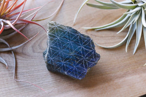 Labradorite Half Polished Slab Etched with Flower of Life