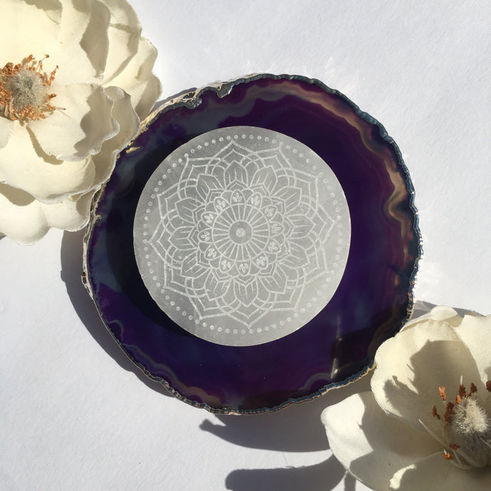 """Radiate Bliss"" Selenite Charging Disc, cleansing plate, crystal grid"
