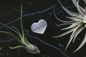 "Etched Selenite Heart ""Flower of Life"""