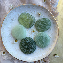 Jade Pocket Stone Etched with Mandala or Sacred Geometry