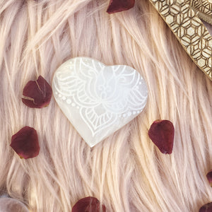 "FREE with $50 Purchase ""Fierce Love"" Small Sacred Selenite Heart"