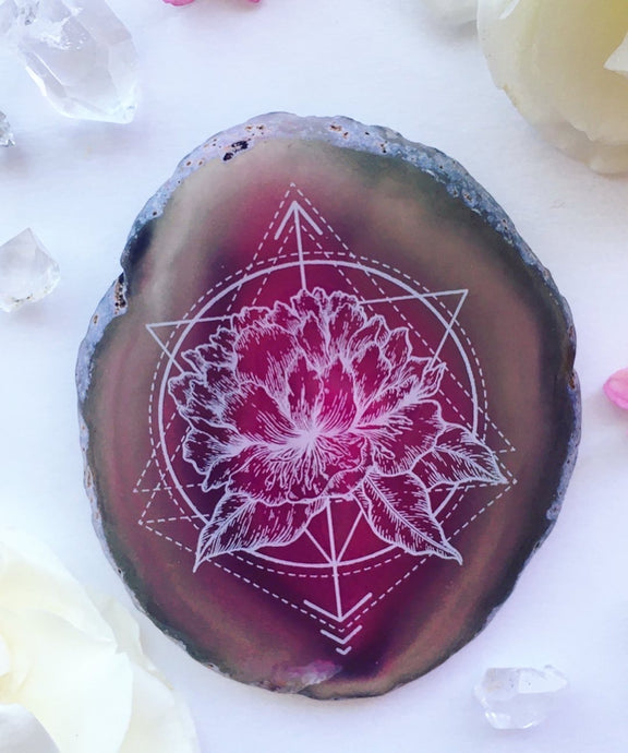 """Floral Dynamics"" Peony Agate Slices - Flower Essence Collection"