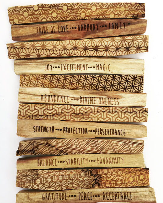 Sacred Geometry Etched Palo Santo with Intentions - set of 6