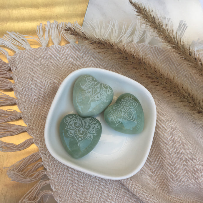 Small Jade Hearts 1""