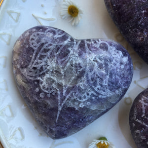 Etched Lepidolite Heart