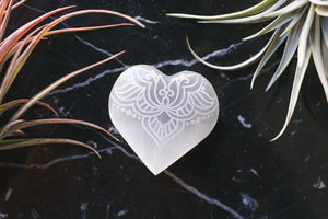 "Etched Selenite Heart ""Fierce Love"""