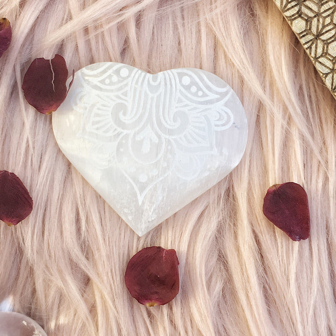 "FREE with $40 Purchase ""Way of the Heart"" Selenite Heart"