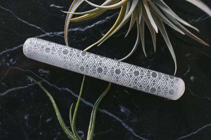 Etched Selenite Massage Wand Sacred Geometry