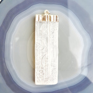 "Silver or Gold Plated Rough Selenite Pendants ""Henna Prayer"""