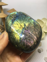 #130 Colorful Gold and Purple Extra Large Labradorite Palmstone Etched with Flower Of Life