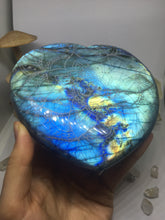 #137 Double Full Flash Baby Blue Extra Large Labradorite Heart Etched with Om Mandala