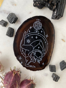 """Strength"" Scorpio Zodiac Goddess Zodiac Agate Slices - Oval"