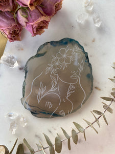 """Clarity"" Virgo Zodiac Agate Slices - Round"