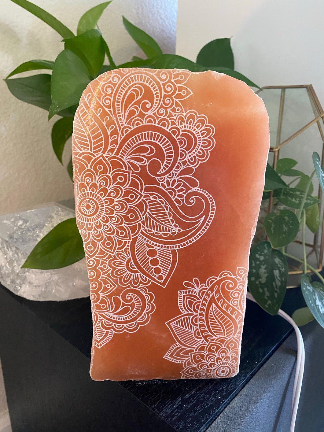 """Henna Prayer"" Peach Selenite Lamp"
