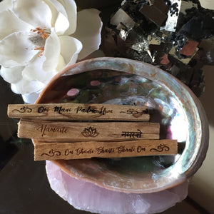 """Yogi Mantra"" Etched Palo Santo - Set of 3"