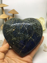 #146 Unique Two-Tone Deep Blue and Green Extra Large Labradorite Heart Etched with Flower of Life