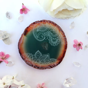"""Henna Prayer"" Floral Agate Slices with Druzy Center - Flower Essence Collection"