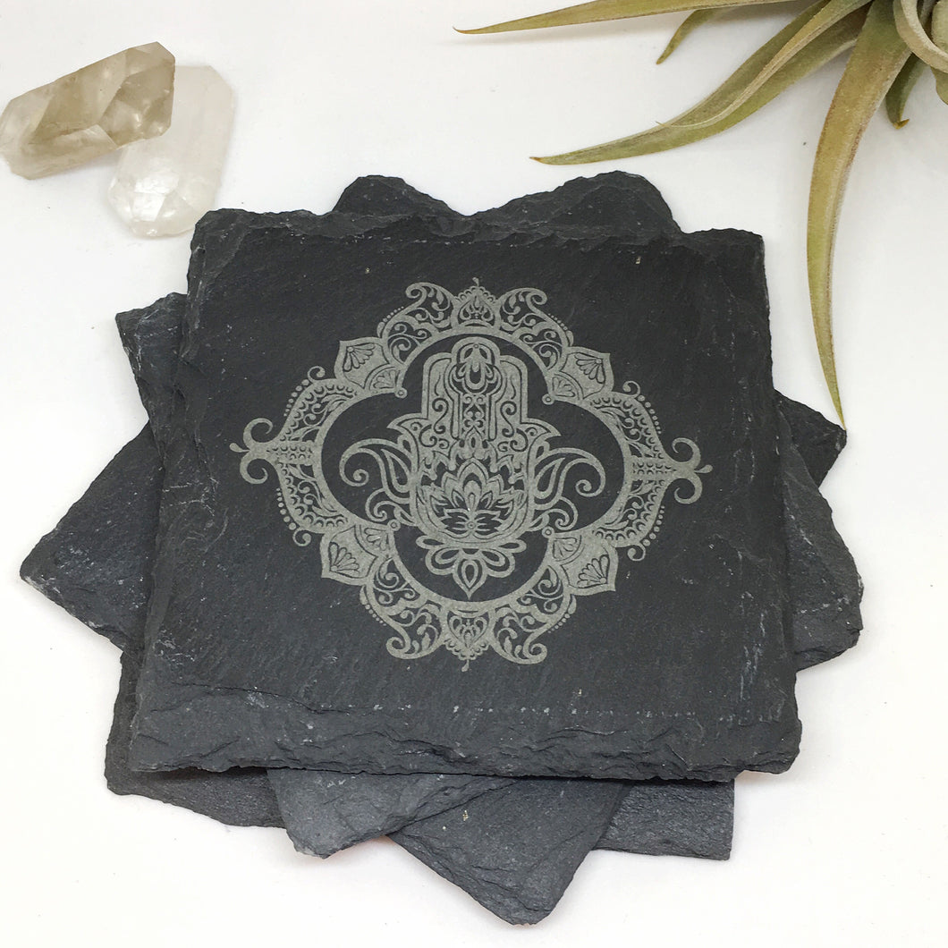Slate Coasters Etched with Henna Mandala