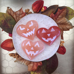 Peach Selenite Heart-o-Lanterns