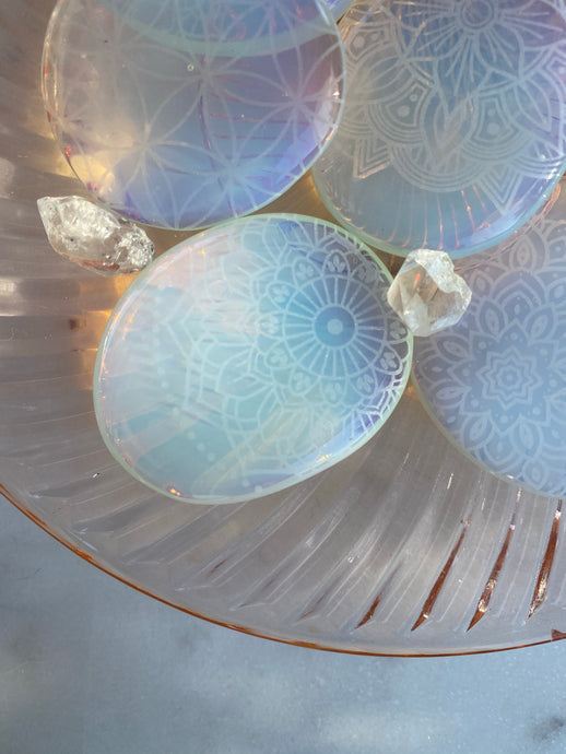 Copy of Illuminating Opalite Palmstone Etched with Mandala, Henna, Or Sacred Geometry