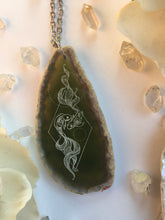 """Pisces Flow"" Zodiac Fish Agate Slice Pendant Necklace"