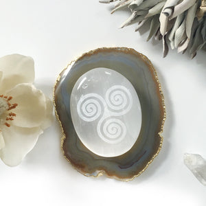 "*Limited Edition* Etched Selenite Palmstone ""Triskelion"""