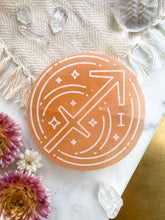 """Onward"" Sagittarius Zodiac Symbol Selenite Charging Plate and Crystal Grid"