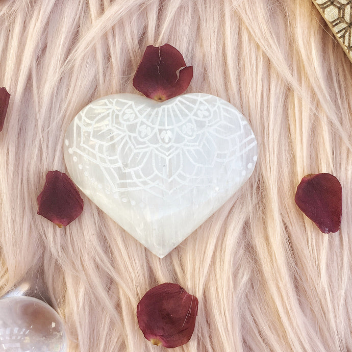 "FREE with $50 Purchase ""Radiate Bliss"" Small Sacred Selenite Heart"