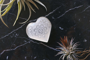"Etched Selenite Heart ""Om Mandala"""
