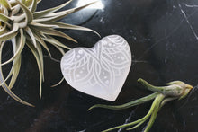 "Etched Selenite Heart ""Lotus Belle"""