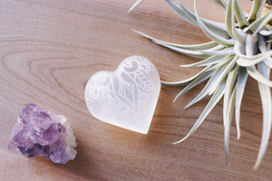 "Etched Selenite Heart ""Sweetest Surrender"""