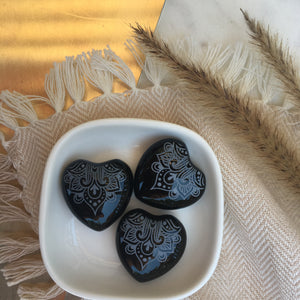 Small Black Agate Hearts 1""