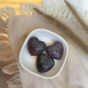 Small Purple Mookite Jasper Hearts 1""