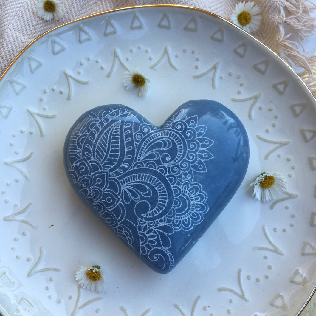 "Large Angelite Heart Etched with ""Henna Prayer"" design"