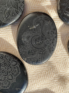 Shungite Pocket Stone Etched with Various Mandalas