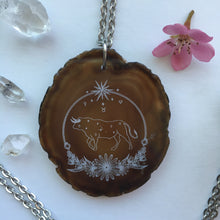 """Taurus Sigil"" Agate Slice Pendant Necklace - Flower Essence Collection / Taurus"