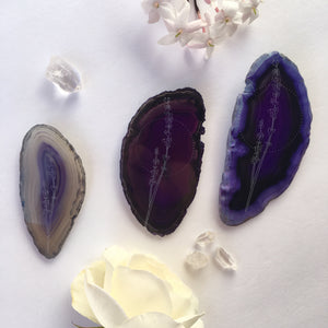 """Lavender Dreams"" Lavender Flower Agate Slices - Flower Essence Collection"