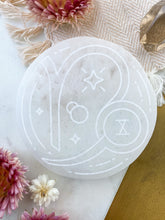 """Accomplished"" Capricorn Zodiac Symbol Selenite Charging Plate and Crystal Grid"
