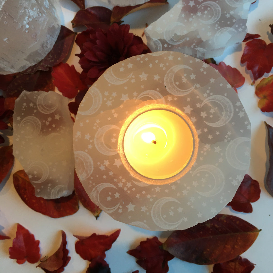 """Celestial Bodies"" Round Selenite Candle Holder"