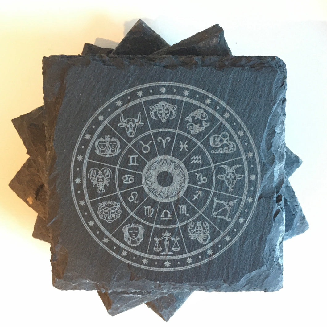 """Zodiac Wheel"" Slate Coasters Set"