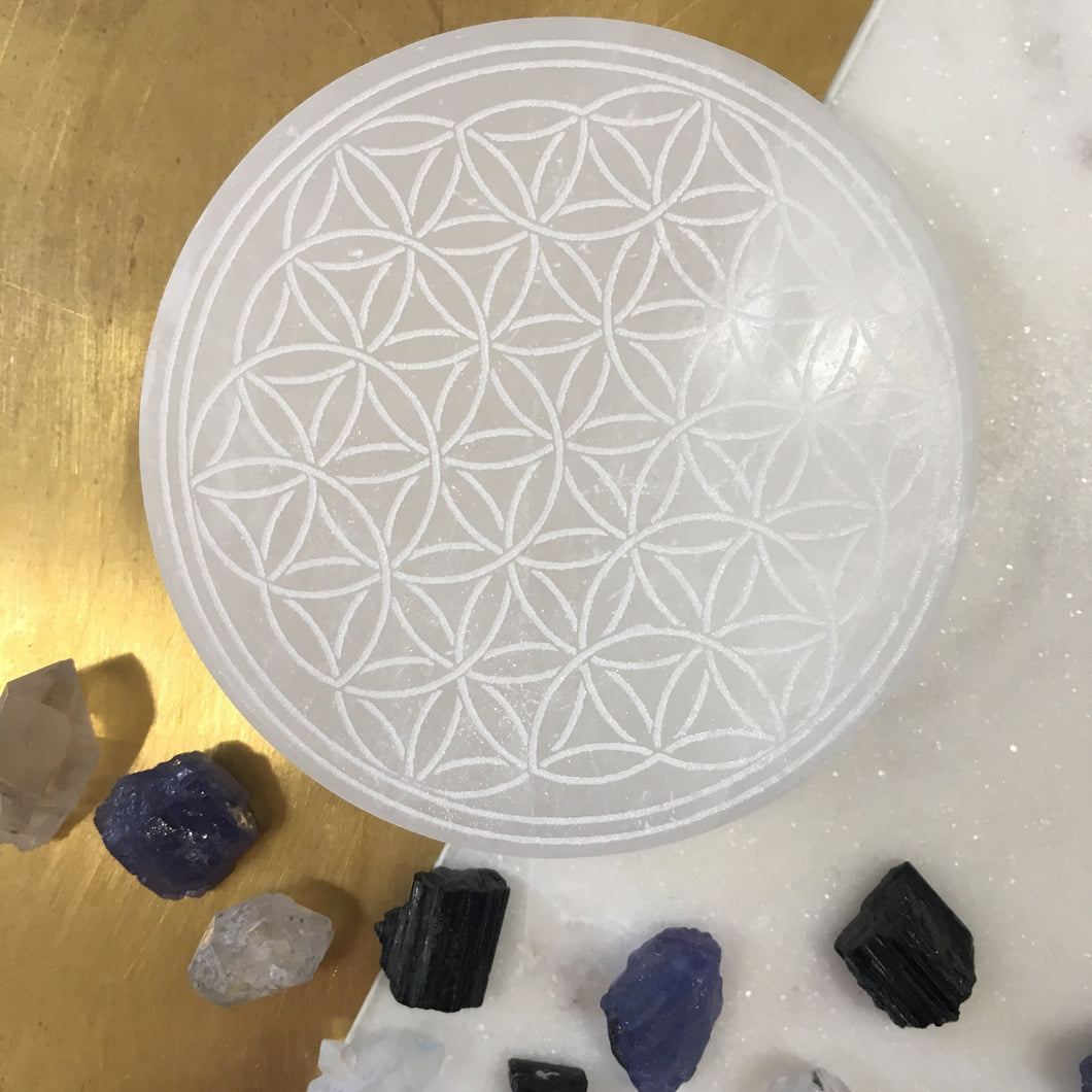 Flower of Life Selenite Charging Plate and Crystal Grid