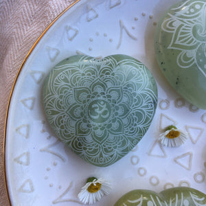 "Gorgeous 2"" Jade Heart Etched with Henna, Mandala or Sacred Geometry"