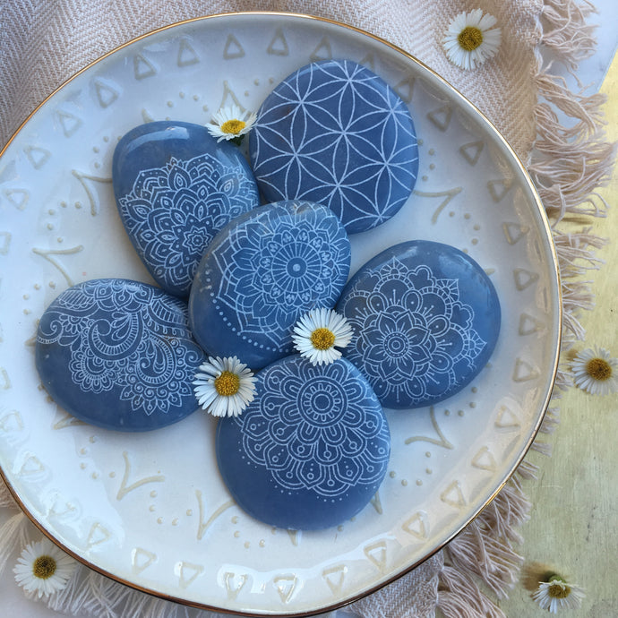 Soothing Angelite Palmstone Etched with Mandala, Henna, Or Sacred Geometry