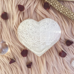 "Etched Selenite Heart ""Radiate Bliss"""