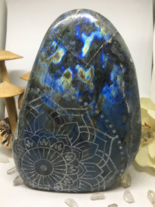 #140 Gorgeous Pink and Blue Extra Large Labradorite Standing Freeform Etched with Radiate Bliss Mandala